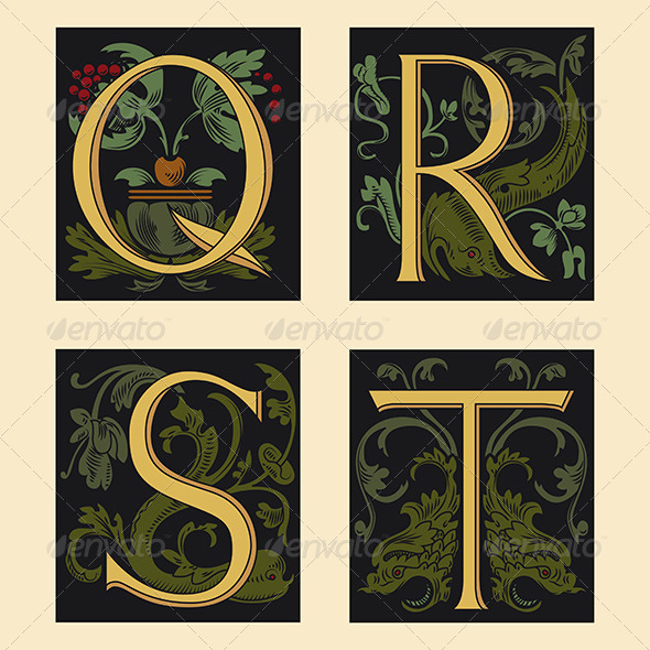 Sixteenth century alphabet by paulrommer graphicriver for Illuminated alphabet templates