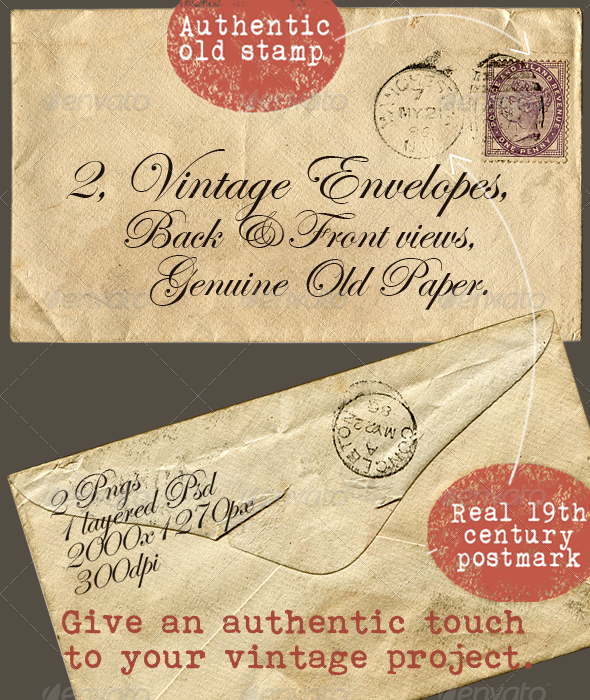2 Vintage Envelopes - Miscellaneous Graphics