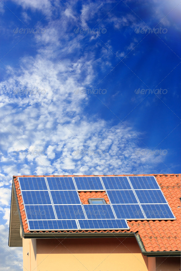Photovoltaic solar panel on roof - Stock Photo - Images
