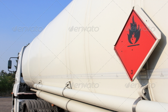 white tanker truck - Stock Photo - Images