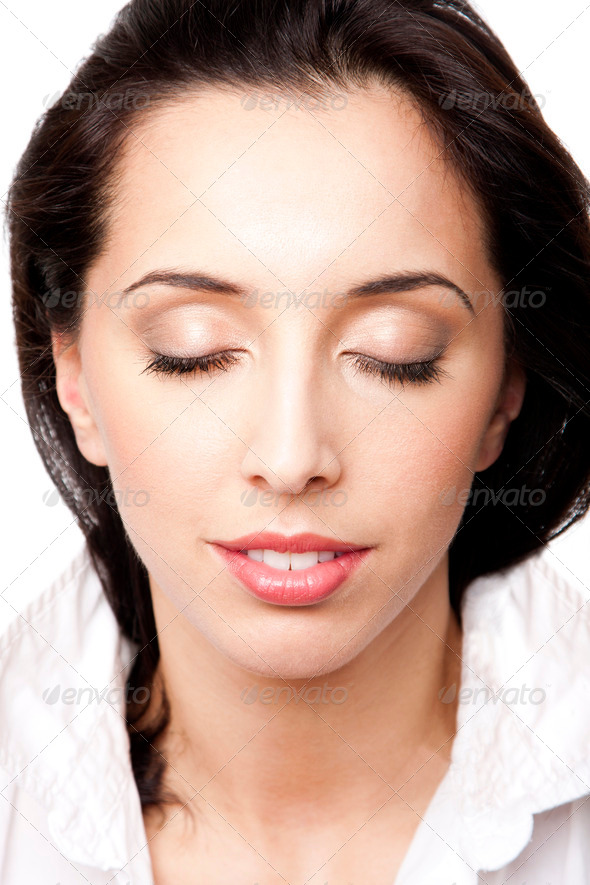 Beauty woman face with eyes closed - Stock Photo - Images