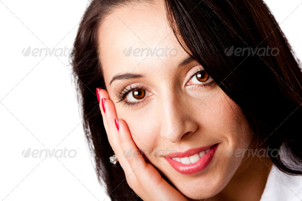 Happy face of a beautiful business woman - Stock Photo - Images
