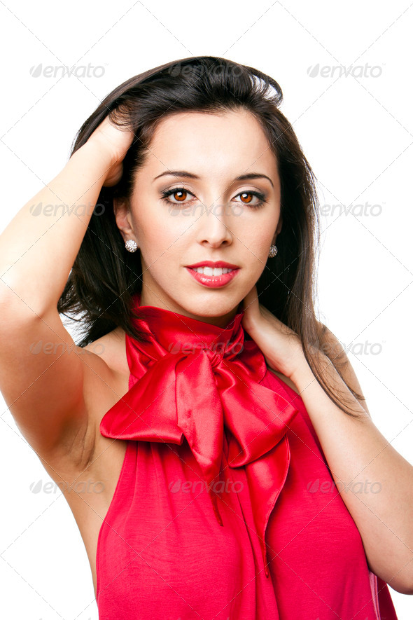 Happy beautiful woman in red - Stock Photo - Images