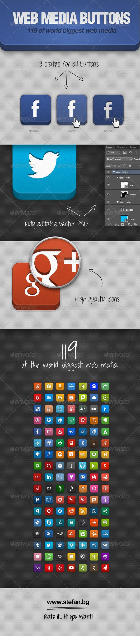 Web Media Buttons - Buttons Web Elements