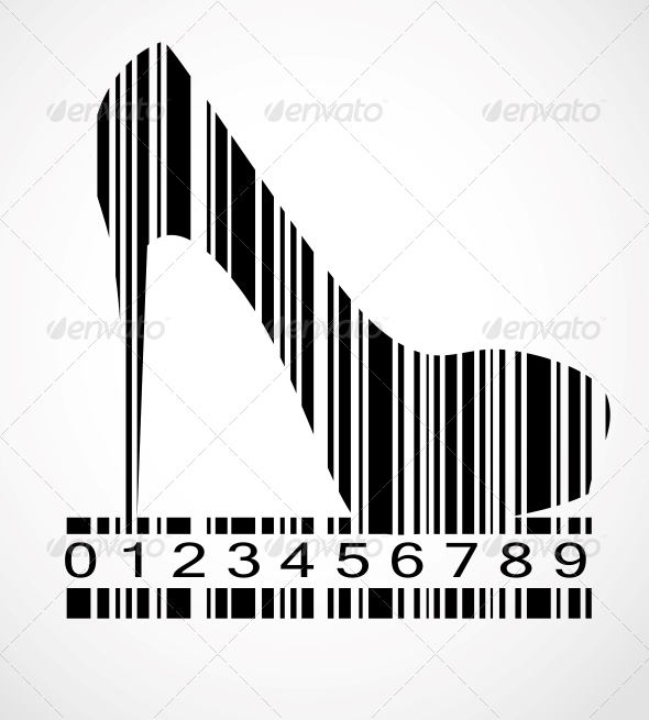 Barcode Shoe Image Vector Illustration - Concepts Business