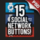 SocialMe 15 Social Network Buttons - GraphicRiver Item for Sale