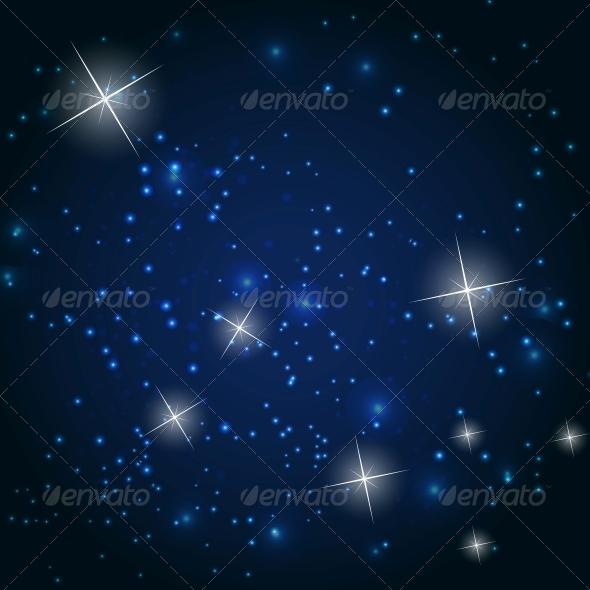 Star Sky Vector Background Illustration - Decorative Symbols Decorative