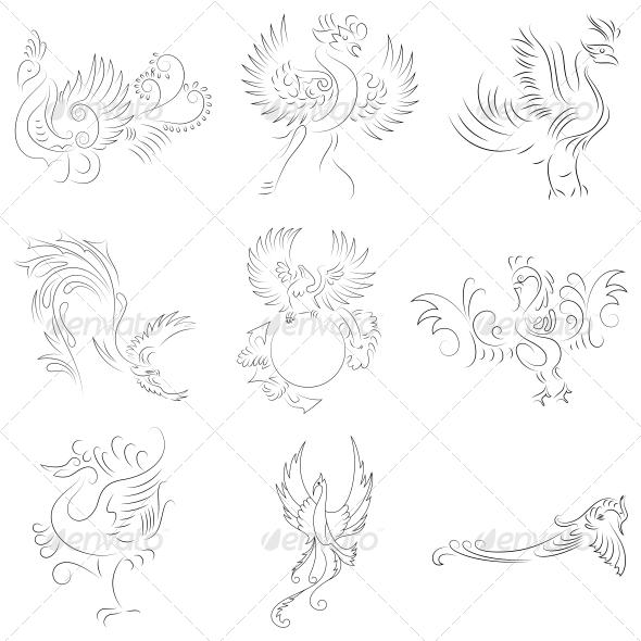 Artistic Phoenix Bird Designs - Vector Pack - Animals Characters