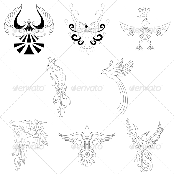 Artistic Phoenix Bird Designs - Vector Pack - Animals Characters