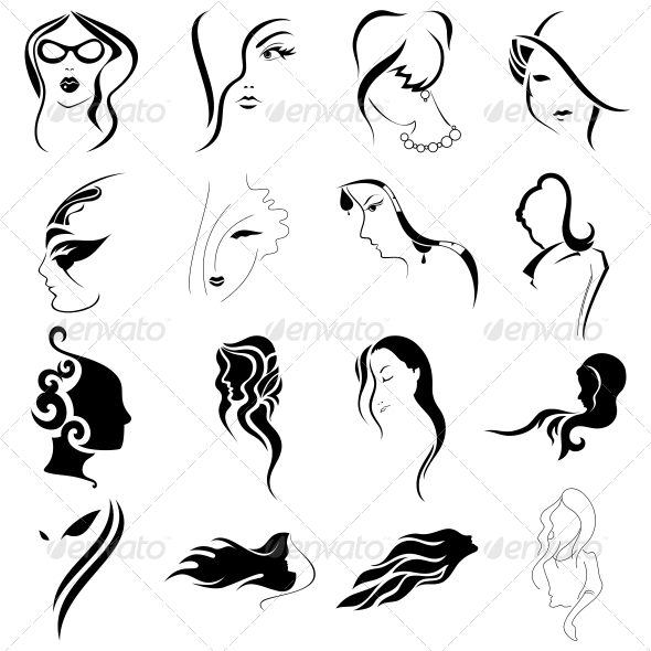 Women Faces Tribal Abstracts Designs - Vector Pack - People Characters