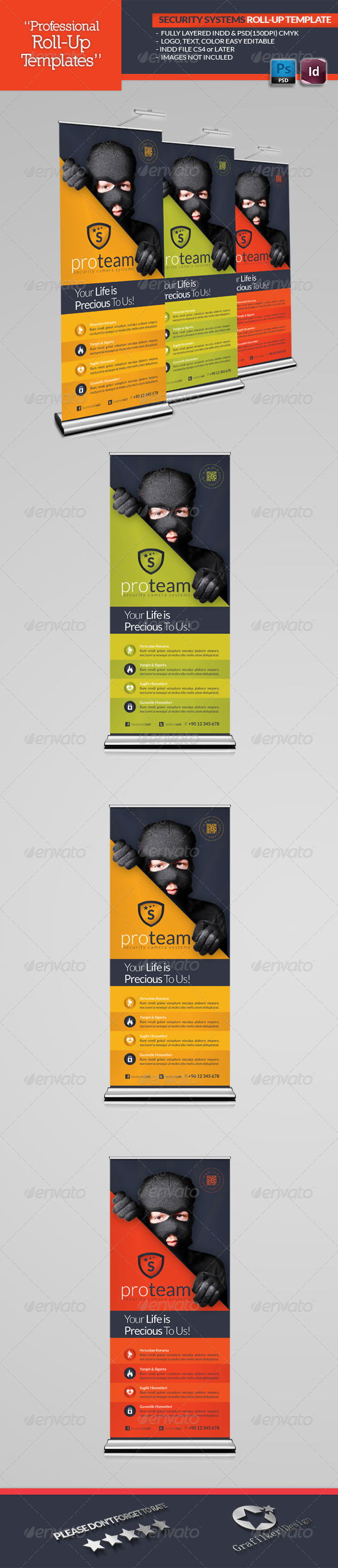 Security Systems Roll-Up Template - Signage Print Templates
