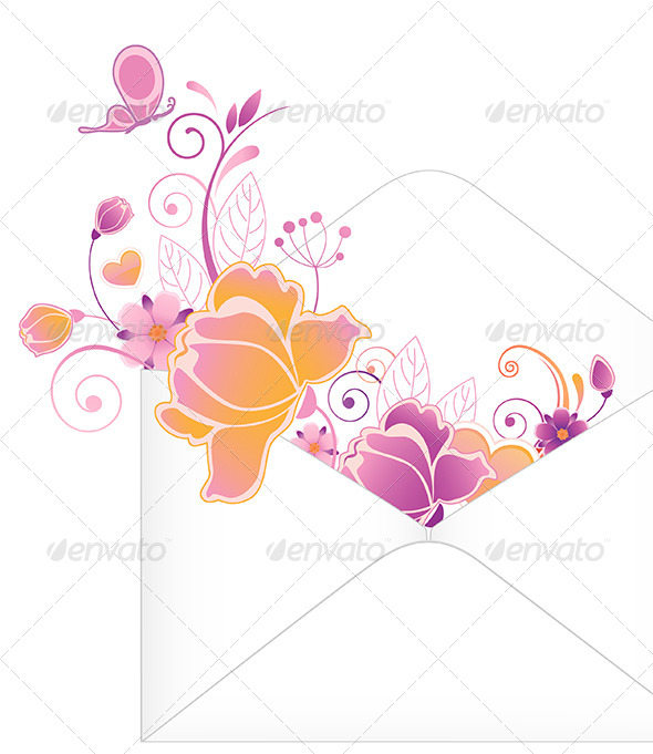Envelope with Flowers - Backgrounds Decorative