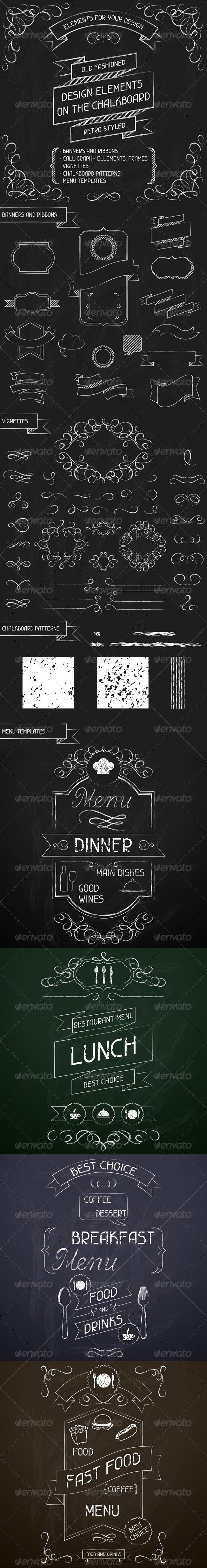 Design Elements on the Chalkboard - Decorative Symbols Decorative