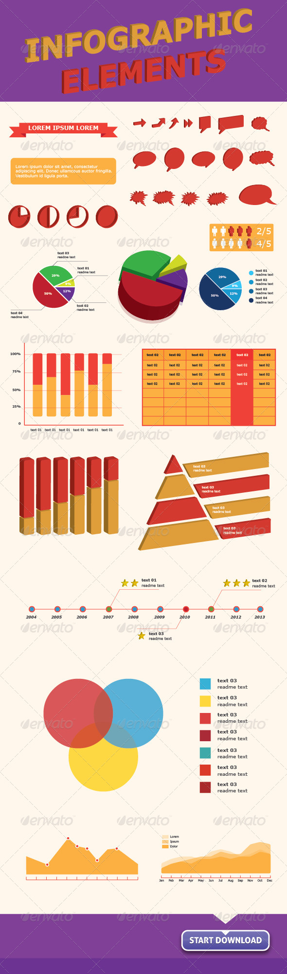 Infographics Vector Elements for Web & Print - Infographics