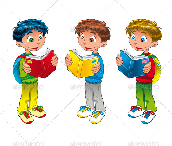 Cartoon Characters Reader : Young students are reading books by ddraw graphicriver