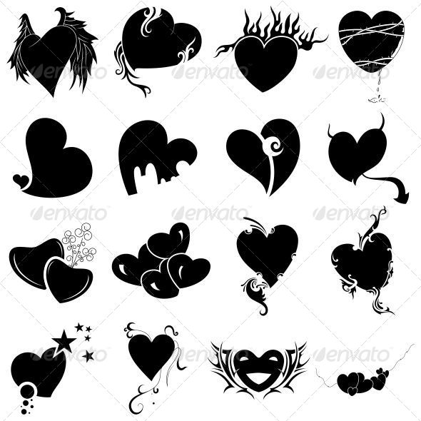 Tribal Heart Tattoo Designs Vector Pack - Valentines Seasons/Holidays