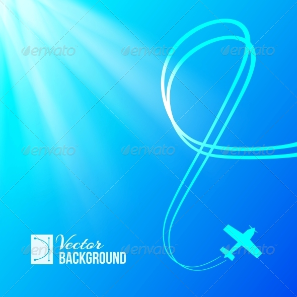 Airplane on Blue Background - Abstract Conceptual