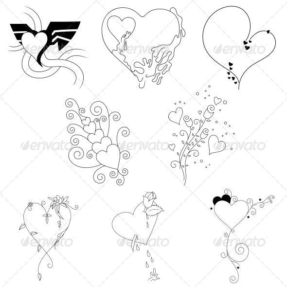 Creative Heart Valentines Elements Vector Pack - Valentines Seasons/Holidays
