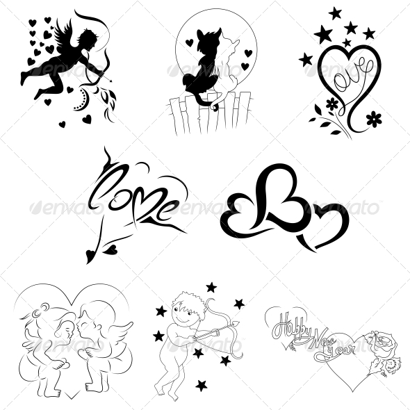 Creative Heart Elements Vector Pack - Valentines Seasons/Holidays