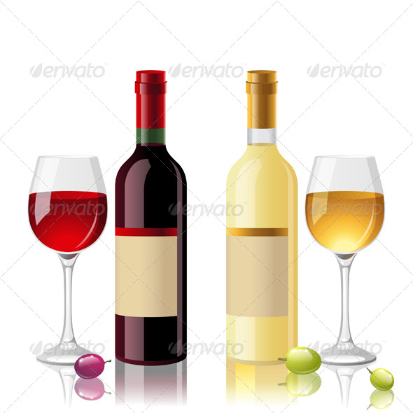 Red and White Wine - Objects Vectors