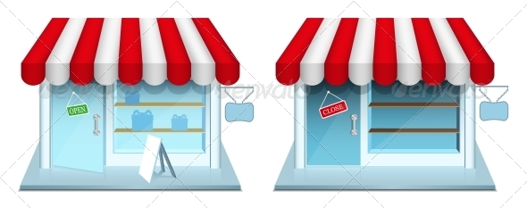 Shop with Closed and Open Door. - Retail Commercial / Shopping