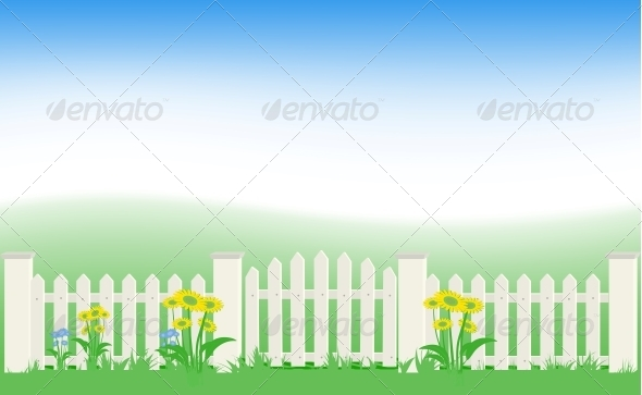 Grass and Fence Under Blue Sky. - Landscapes Nature