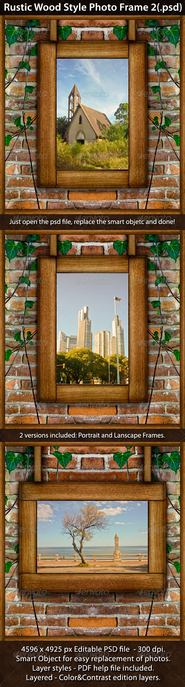 Rustic Wood Style Photo Template 2 - Urban Photo Templates