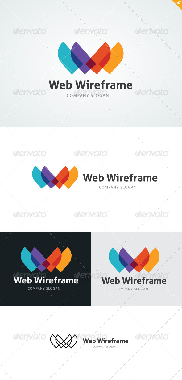 Web Wireframe Logo - Letters Logo Templates