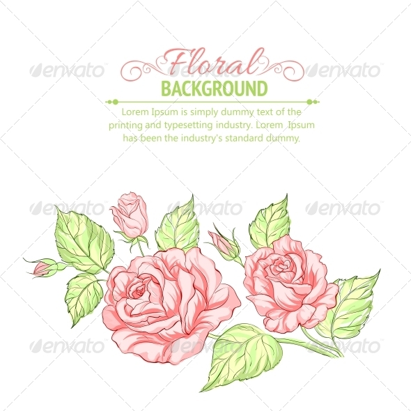 Silhouette of Rose with Sample Text. - Flowers & Plants Nature
