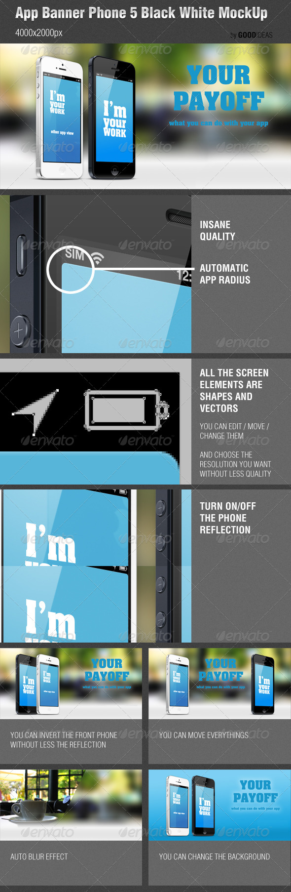 App Banner iPhone 5 Black White MockUp Real Photo - Mobile Displays