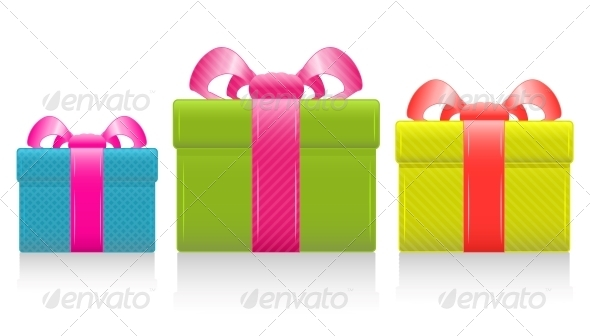 Vector gift box with silk bow - Birthdays Seasons/Holidays