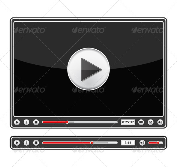 Audio and Video Players - Web Elements Vectors