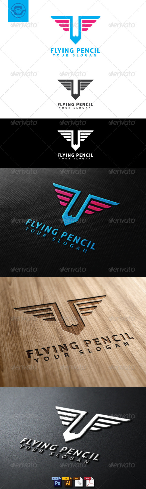 Flying Pencil Logo Template - Objects Logo Templates