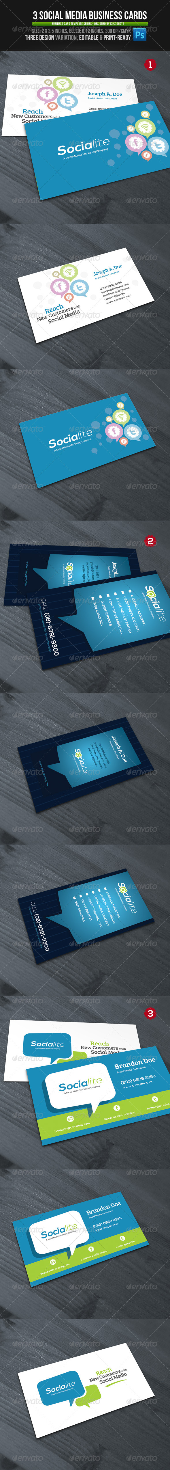 3 Social Media Business Cards - Industry Specific Business Cards