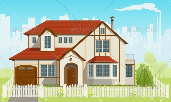 Family House Vector Illustration - Buildings Objects