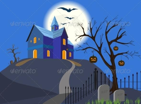 Halloween Pumpkin and House - Halloween Seasons/Holidays