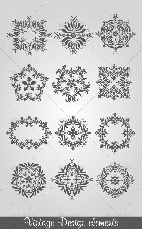 Vintage Design Elements - Flourishes / Swirls Decorative