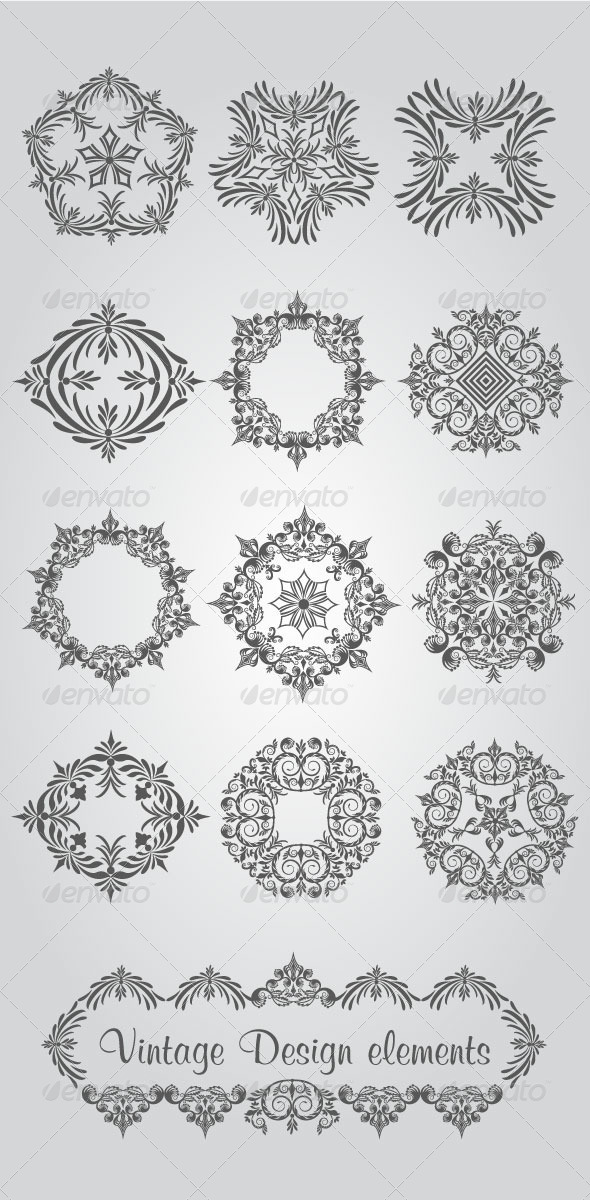 Vintage Design Elements - Flourishes / Swirls Decorative