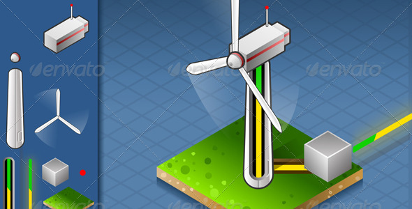 Isometric Wind Turbine that Produces Energy - Miscellaneous Vectors
