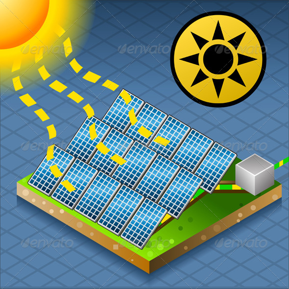 Isometric Solar Panel at Work - Objects Vectors