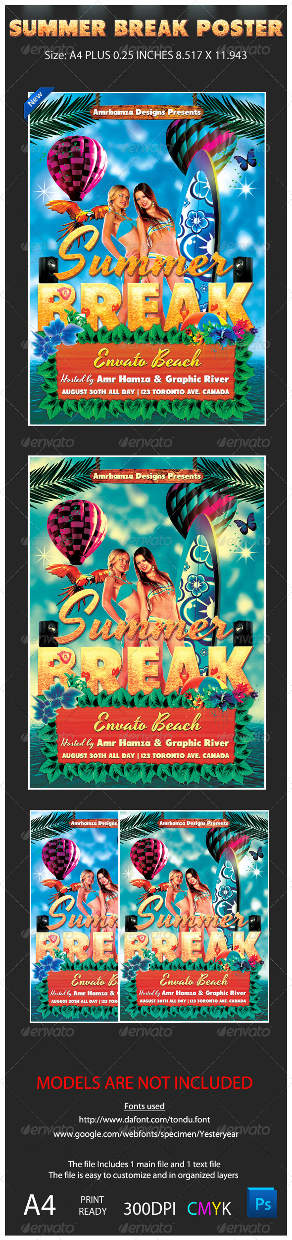 Summer Spring Surf Poster - Events Flyers