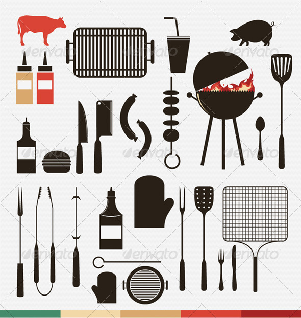 Barbecue and Grill Icons  - Food Objects