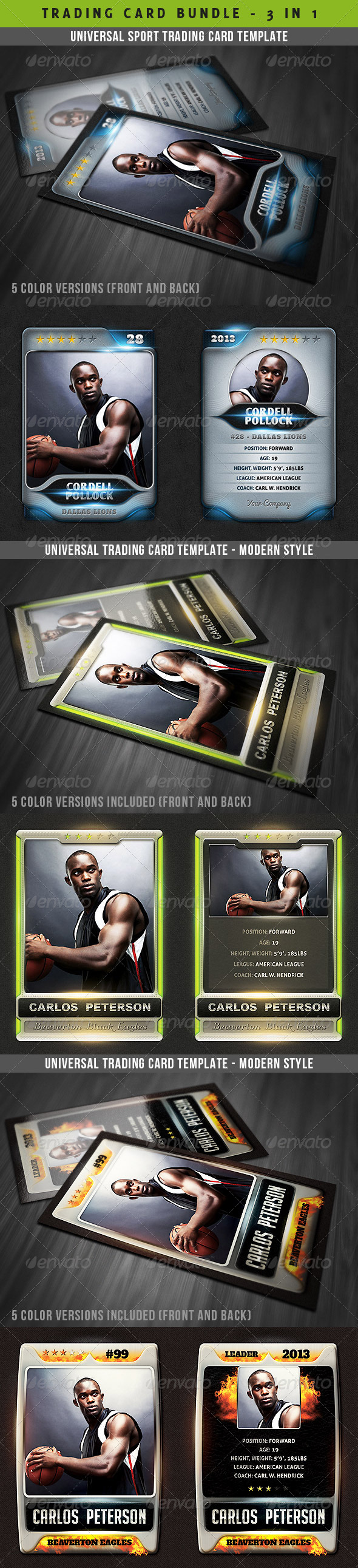Universal Sport Trading Cards Bundle - Miscellaneous Print Templates