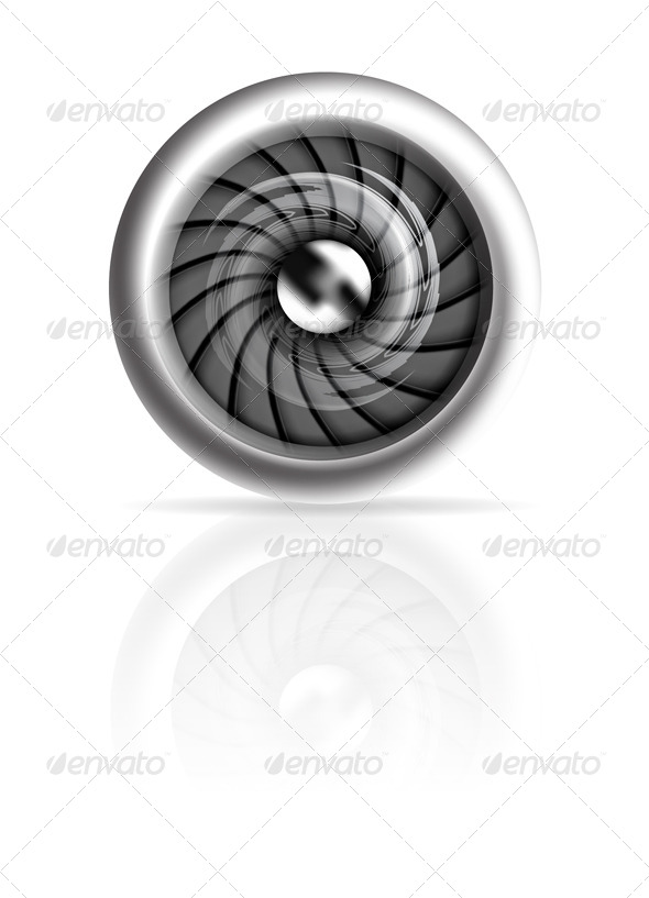 Jet Engine Front View Isolated on white - Travel Conceptual