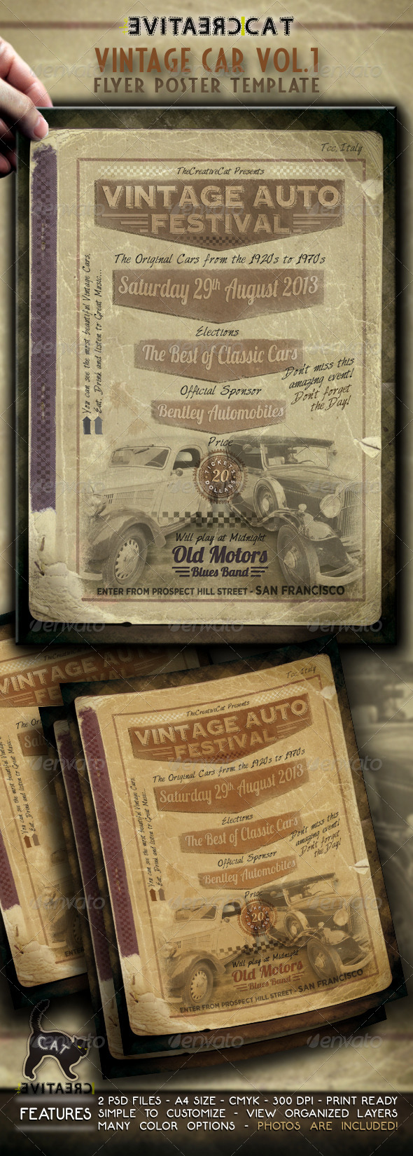 Vintage Car Flyer/Poster Vol.1 - Events Flyers