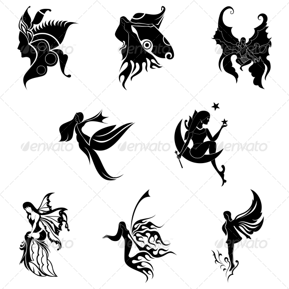 Tribal Angel Abstract Designs - Tattoos Vectors