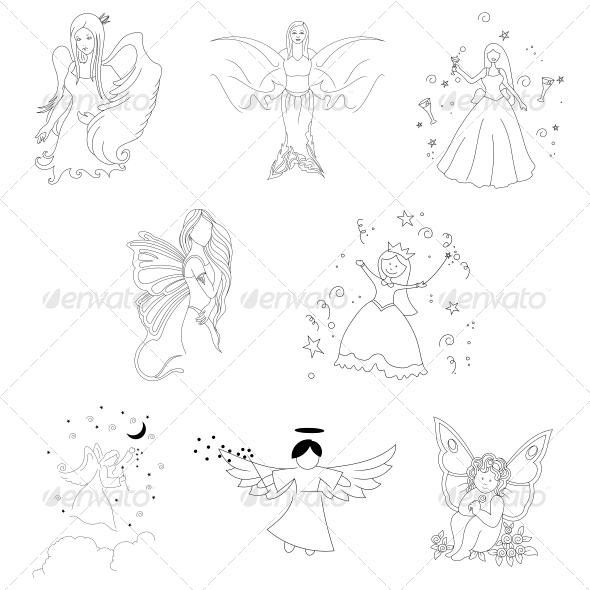 Tribal Angel Abstract Designs - Tattoos Vectors