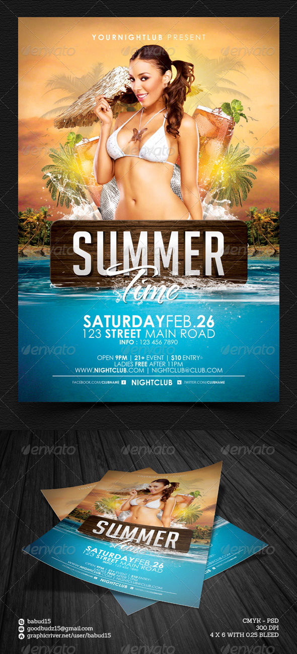 Summer Time Flyer Template - Events Flyers
