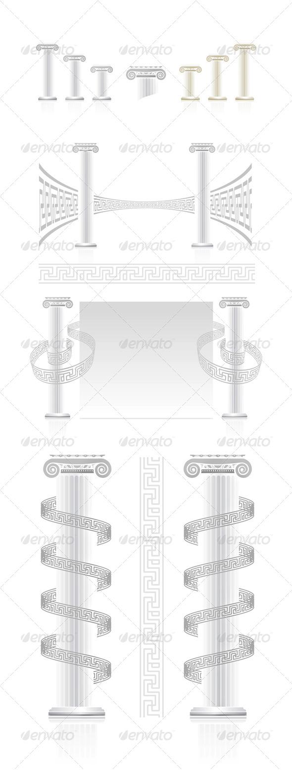 Ionic Column With Greek Key Pattern - Decorative Vectors