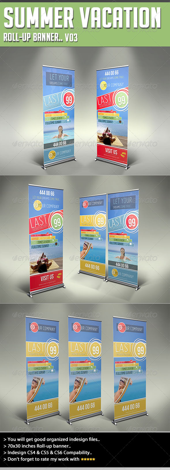 Roll-up Banner - Summer Vacation - Signage Print Templates